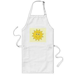 夏の日曜日明るく黄色いSmilingの表面 ロングエプロン