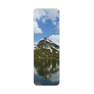 夏の景色: 湖の山の反射 返信用宛名ラベル