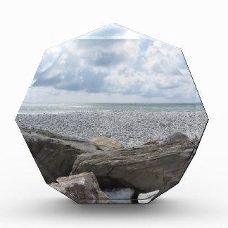 夏の曇った日のビーチの海岸 表彰盾