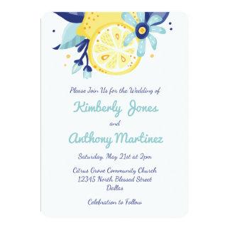 夏の柑橘類および花柄の結婚 カード