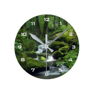 夏の森林小川の柱時計 ラウンド壁時計