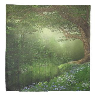夏の森林川(2つの側面)の女王の羽毛布団カバー 掛け布団カバー