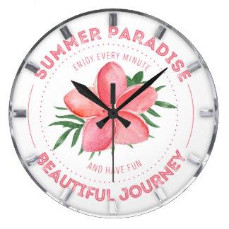 夏の楽園の美しい旅行のピンクの花柄のロゴ ラージ壁時計