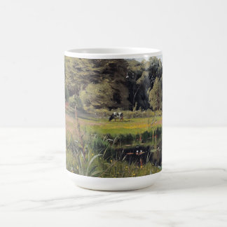 夏の池の《植物》スイレンのリードLilypadsのマグ コーヒーマグカップ