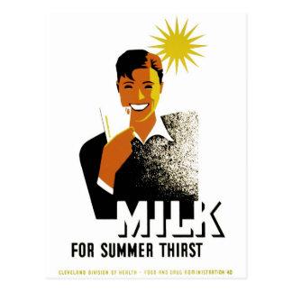 夏の渇きのためのミルク ポストカード