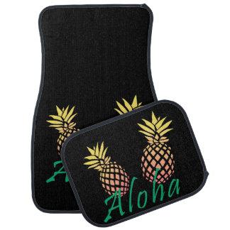 """夏の熱帯""""アロハ""""文字、多彩なパイナップル カーマット"""