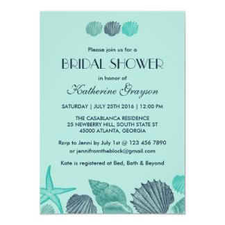 夏の結婚式のための柔らかく青い貝殻の招待状 カード