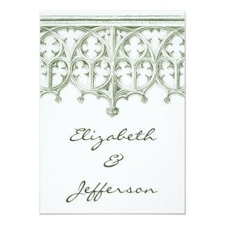 夏の緑のカテドラルの結婚式招待状 カード