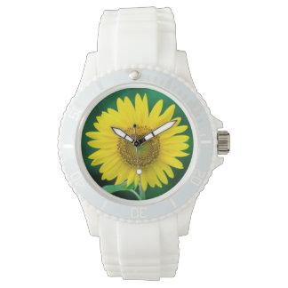 夏の腕時計の巨大で黄色いヒマワリ 腕時計