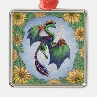 夏の自然のファンタジーの芸術の緑ドラゴン シルバーカラー正方形オーナメント