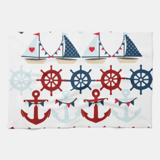 夏の航海のなテーマは帆ボートの舵輪を固定します キッチンタオル