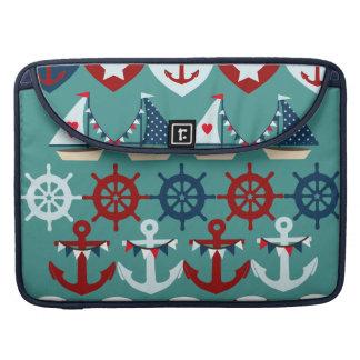 夏の航海のなテーマは帆ボートの舵輪を固定します MacBook PROスリーブ