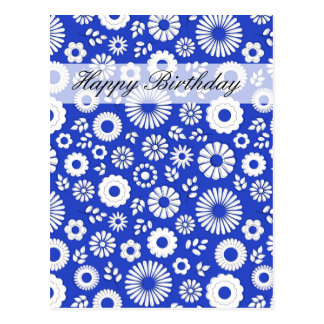夏の花の深く青いハッピーバースデーの郵便はがき ポストカード
