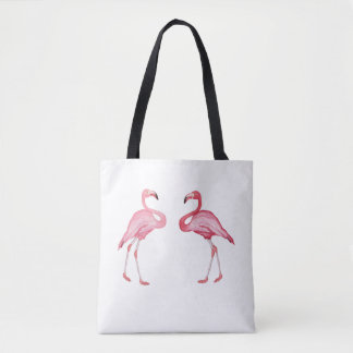 夏の花柄の美しいピンクのフラミンゴ トートバッグ