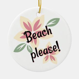 夏の花模様-お願いしますビーチ セラミックオーナメント