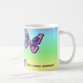 夏の蝶は、私をカスタマイズ コーヒーマグカップ