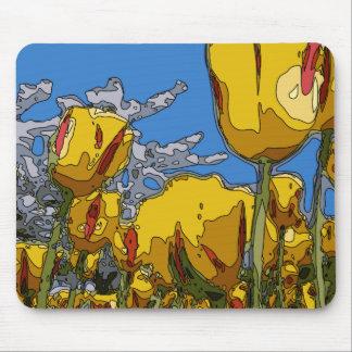 夏の開花の金チューリップ マウスパッド