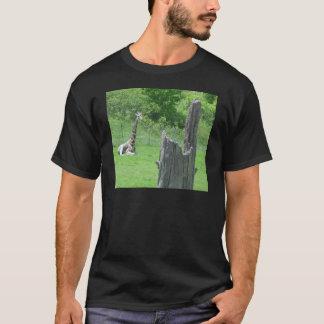夏の間の壊れた木切り株の後ろのキリン Tシャツ