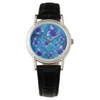 夏の青い蝶、革 腕時計