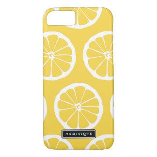 夏の黄色いレモンはパターンiPhoneの箱をスライスします iPhone 8/7ケース