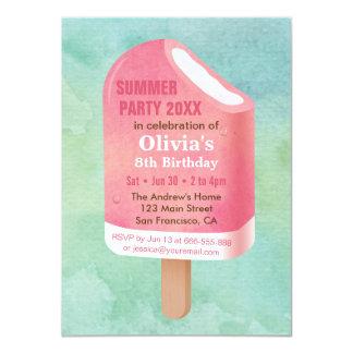 夏のLollyのアイスキャンデーのアイスクリームの誕生会 11.4 X 15.9 インビテーションカード