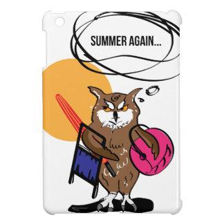 夏のTシャツを憎むフクロウ iPad MINI カバー