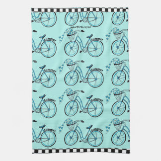 """夏はどこでも自転車に乗ります"""" キッチンタオル"""