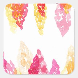 夏はピンク-花のSnapdragons -オレンジ咲きます スクエアシール