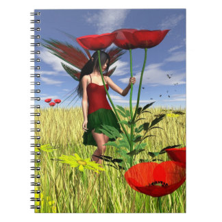 夏分野の赤いケシの妖精 ノートブック