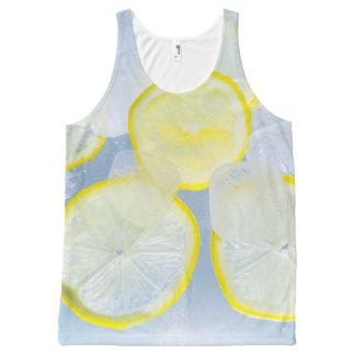 夏新しいレモン氷のソーダ飲み物の写真 オールオーバープリントタンクトップ