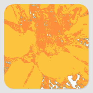 夏時間のオレンジ花のダリアの花模様 スクエアシール