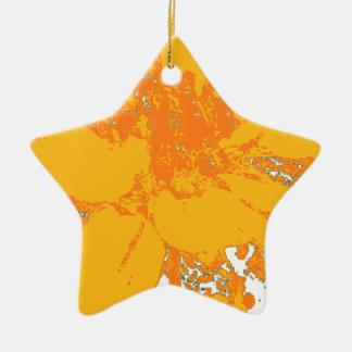 夏時間のオレンジ花のダリアの花模様 陶器製星型オーナメント
