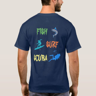 夏2017年-魚、波、スキューバ Tシャツ