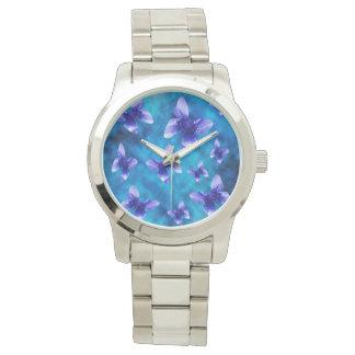 夏、大きいユニセックスの青い蝶 腕時計