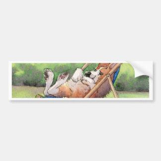夏- Deckchairのコーギーの間練習 バンパーステッカー