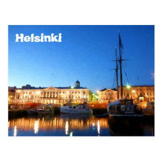 夕べのヘルシンキの市場が開かれる広場のボート ポストカード