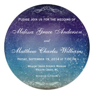 夕べの空の結婚式のカラフルな星 カード