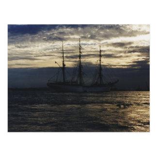 夕べの高い船 ポストカード