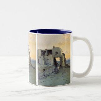 夕べ、マリオンKavagh Wachtel著Walpiの村落 ツートーンマグカップ