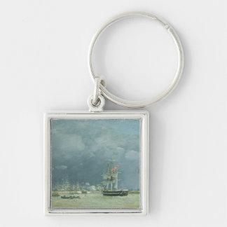 夕べ、ルアーブル1866年(キャンバスの油) キーホルダー