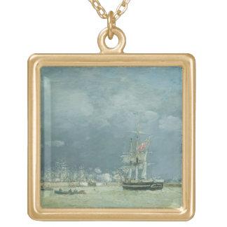 夕べ、ルアーブル1866年(キャンバスの油) ゴールドプレートネックレス