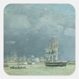 夕べ、ルアーブル1866年(キャンバスの油) スクエアシール