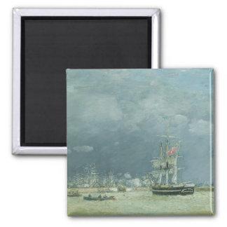 夕べ、ルアーブル1866年(キャンバスの油) マグネット