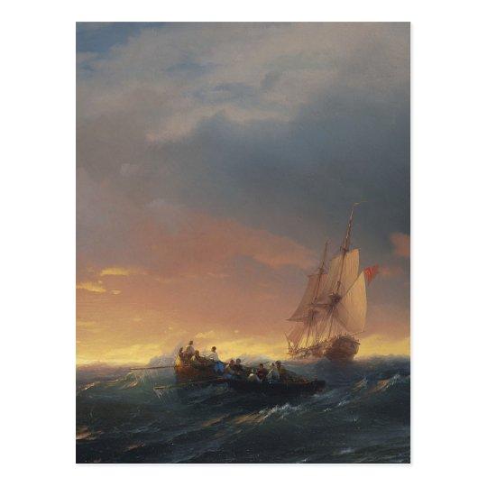 夕暮れ時の波のうねり ポストカード