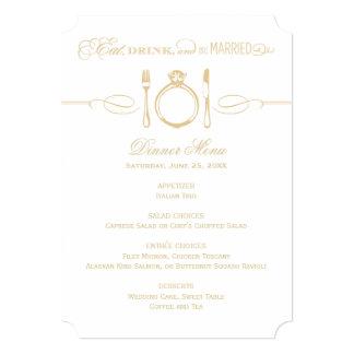 夕食メニューカード シャンペン金ゴールドは結婚したです カード