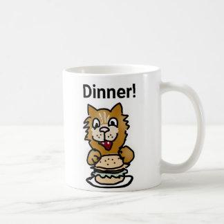夕食猫の漫画のマグ コーヒーマグカップ