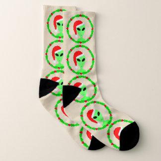 外国のサンタのヒイラギのリースLRGのおもしろいの醜いクリスマス ソックス