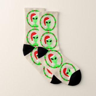 外国のサンタのヒイラギのリースSMLのおもしろいの醜いクリスマス ソックス