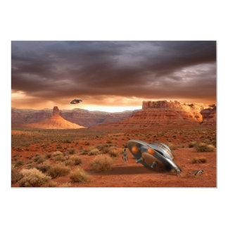 外国の不運の招待状が付いている砂漠のUFOの衝突 カード
