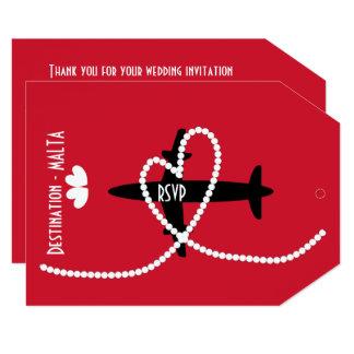 外国の行先の結婚式マルタRSVP カード